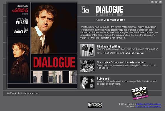 Personal, técnica cinematográfica: Diálogo (simulación interactiva de rodaje y edición)