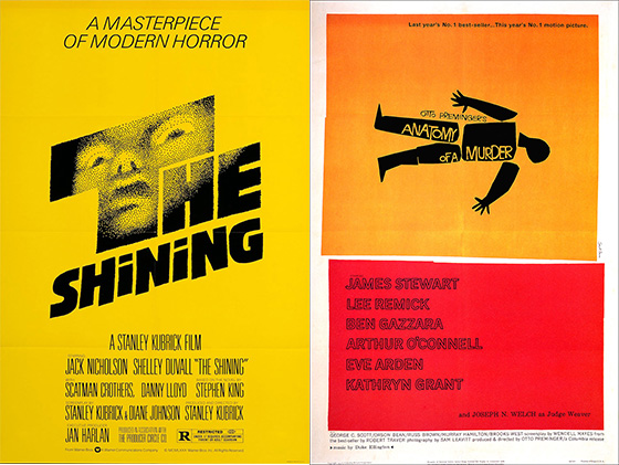Carteles de The Shining y de Anatomy of the murder, de Saul Bass